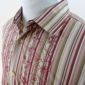 Banana Republic Striped Shirt w/Floral Embroidery